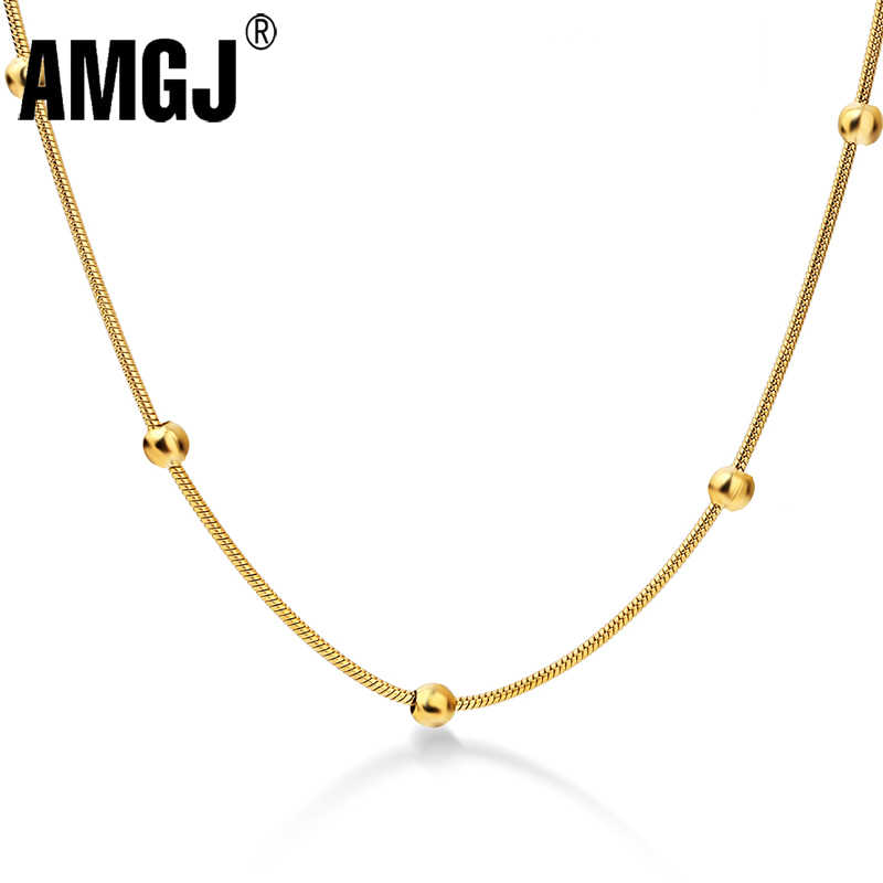 AMGJ 316L Stainless Steel Gold/Steel Color Round Ball Pendant Necklace Link Chain Necklace Fashion Jewelry for Women or Men