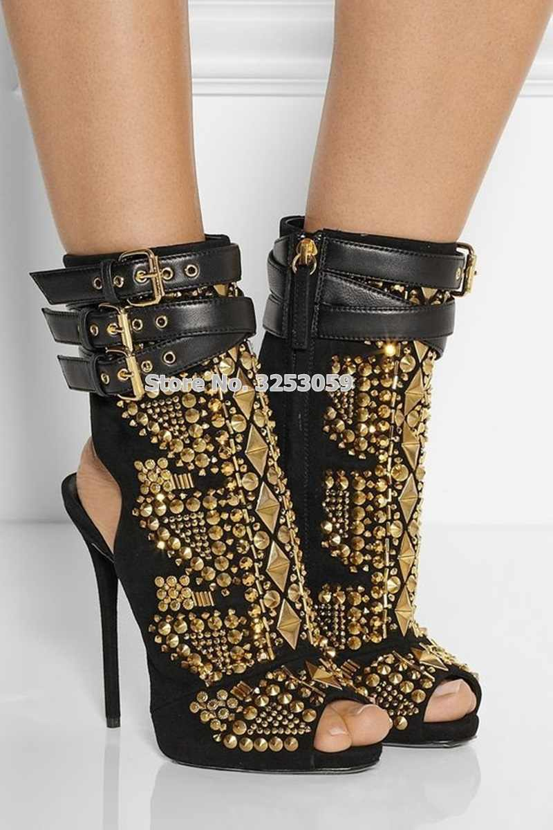 Almudena Wanita Emas Punk Kancing Semata Kaki Logam Paku Keling Sepatu High Heels Studded Sepeda Motor Sepatu Ukuran Besar