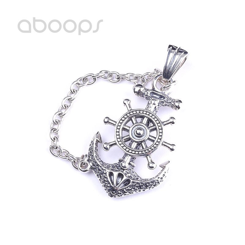 цена на Vintage 925 Sterling Silver Nautical Anchor & Steering Wheel Pendant for Men Boys Free Shipping