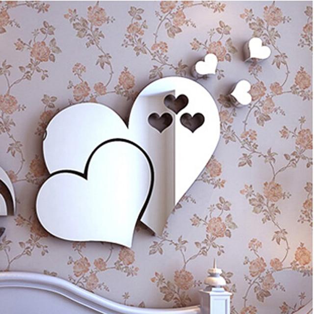 New Love Coeur Miroir D Stickers Muraux Auto Adhsif Miroir