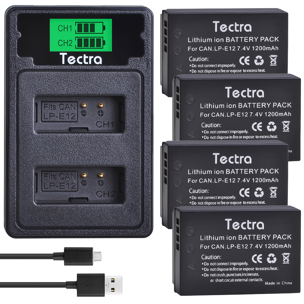 4PCS LP-E12 LPE12 LP E12 Camera <font><b>Battery</b></font>+LCD USB Type C Charger for <font><b>Canon</b></font> M <font><b>100D</b></font> Kiss X7 Rebel SL1 EOS M10 EOS M50 DSLR image
