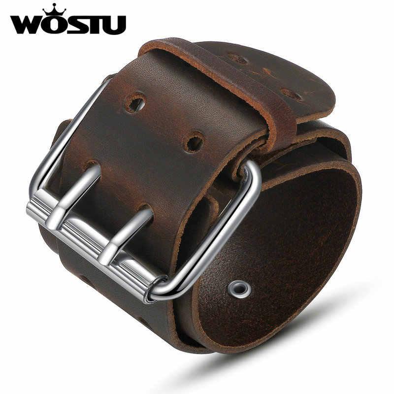 WOSTU wysokiej jakości skórzana okładka Vintage brązowa i czarna bransoletka dla kobiet mężczyzn biżuteria unisex prezent dla chłopaka FC0338
