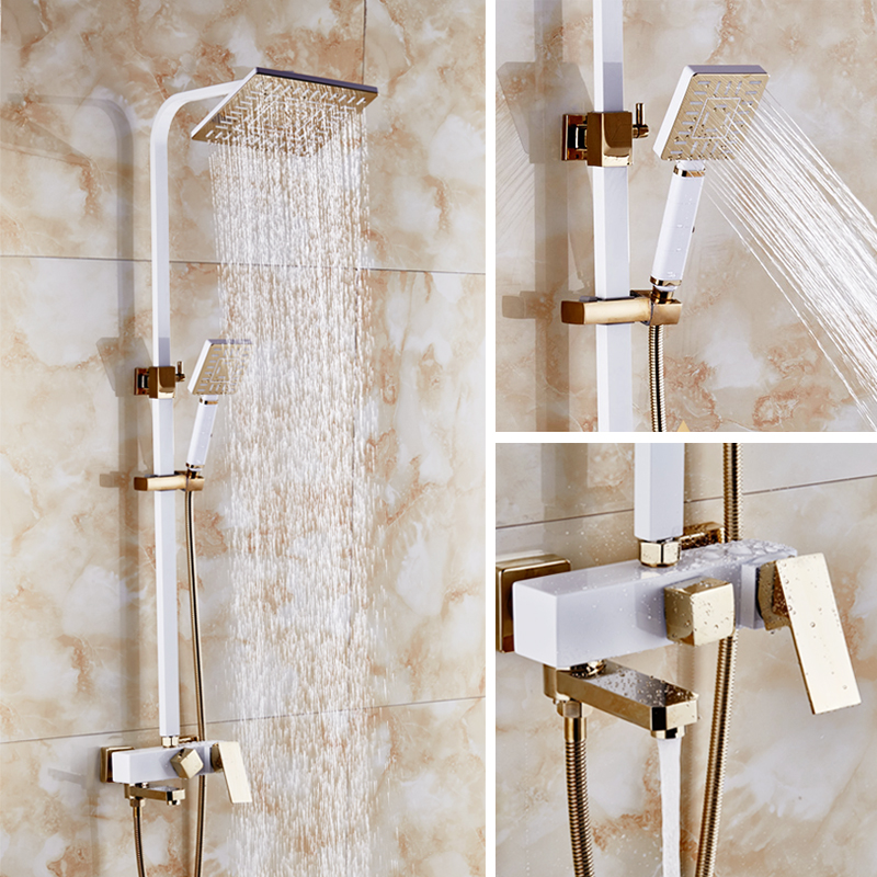 Dofaso vintage ivory white gold bath shower faucets square tube shower set Luxury Wall Mounted bathroom Rain Shower faucets Set