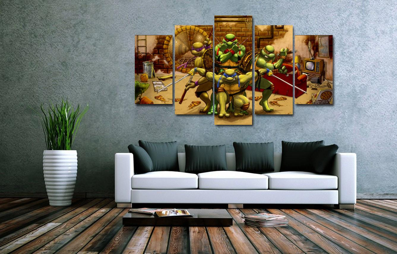 Unframed teenage mutant ninja turtles painting canvas print room unframed teenage mutant ninja turtles painting canvas print room decor print poster canvas picture 5 pieces wall art in painting calligraphy from home amipublicfo Image collections