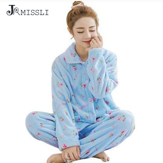 88a37a7586 JRMISSLI cálida Franela pijama de Dibujos Animados pijamas de invierno para  las mujeres homewear set Lovely