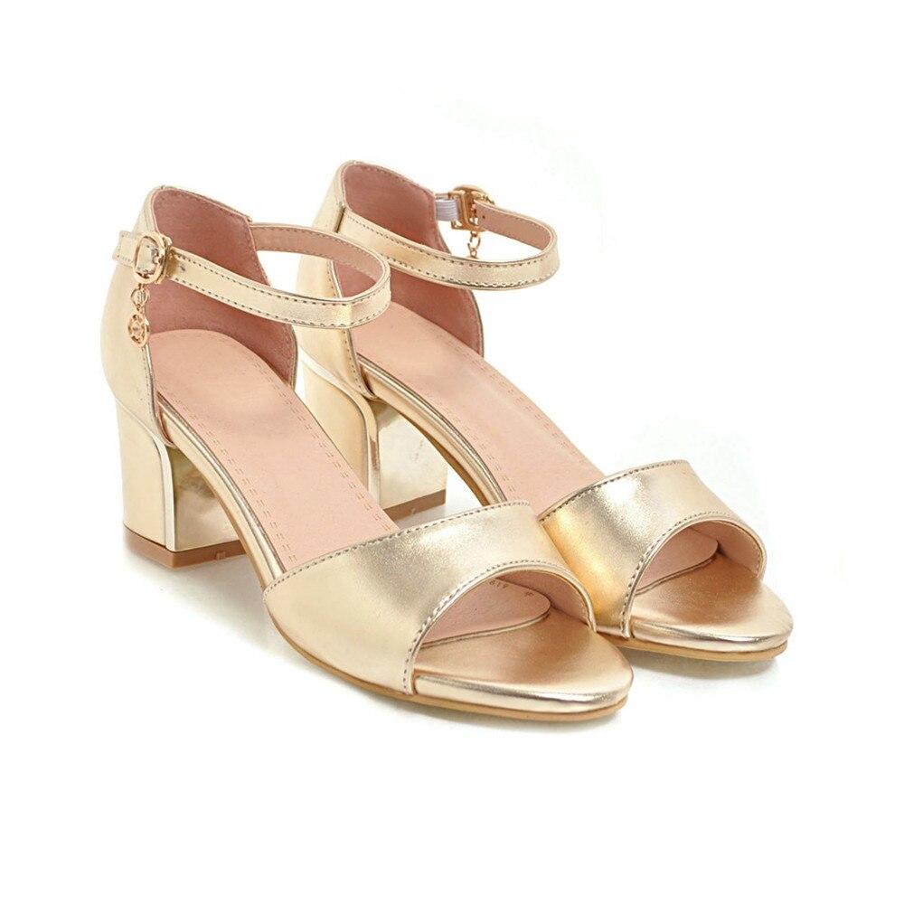 Hebilla Peep 2018 plata Tamaño Verano Sandalias Oro 33 Mujer Morazora Talones De oro Simple Vestido Zapatos Plateado Elegante 43 Negro Toe qv1wRWId