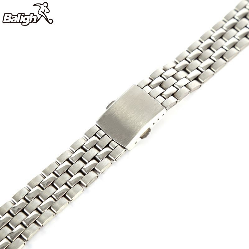 Stainless Steel Metal Strap Silver Watch Band Unisex Bracelet 18 20 22mm Watch Band Double Fold Deployment Clasp Watch Buckle