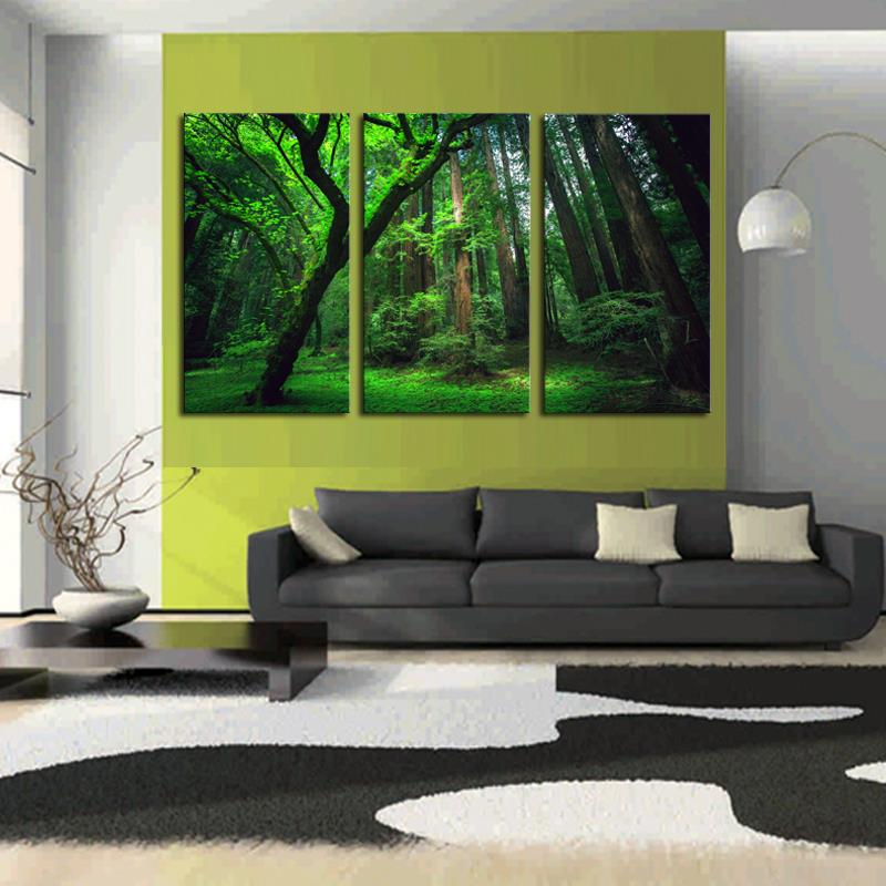 Aliexpress.com : Buy ALMUDENA 3 Panels Green Forest HD Canvas Print ...