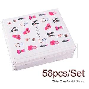 Image 3 - 58 stks/set Gemengde Kleurrijke Nail Sticker Fashion Fruit/Cake/Bloem Water Transfer Wraps Tips Nail Decor Manicure Tool CHSTZ455 512