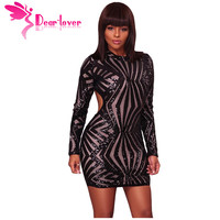 Dear Lover Sequin Bodycon Dress Sexy Christmas Champagne Detail Open Back Party Mini Club Party Dress