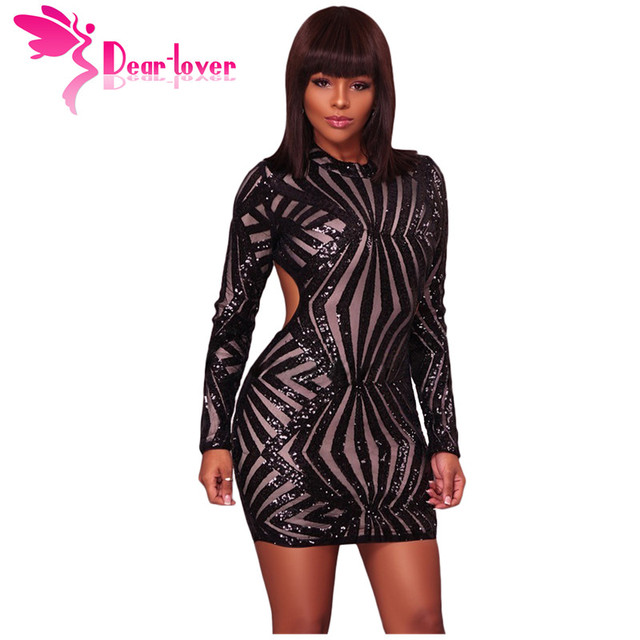 Dear Lover Sequin Bodycon Dress Sexy Christmas Champagne Detail Open Back  Party Mini Club Party Dress Vestidos Paillette LC22891 3ded7d3df1f6