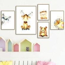 Watercolor Raccoon Deer Elk Bear Owl Wall Art Canvas Painting Nordic Posters And Prints Nursery Pictures Kids Room Decor