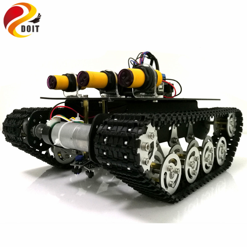 DOIT Tracking Obstacle Avoidance Robot Tank Chassis with Arduino UNO R3 Board+Motor Drive Board+IR Obstacle Sensor by APP Phone
