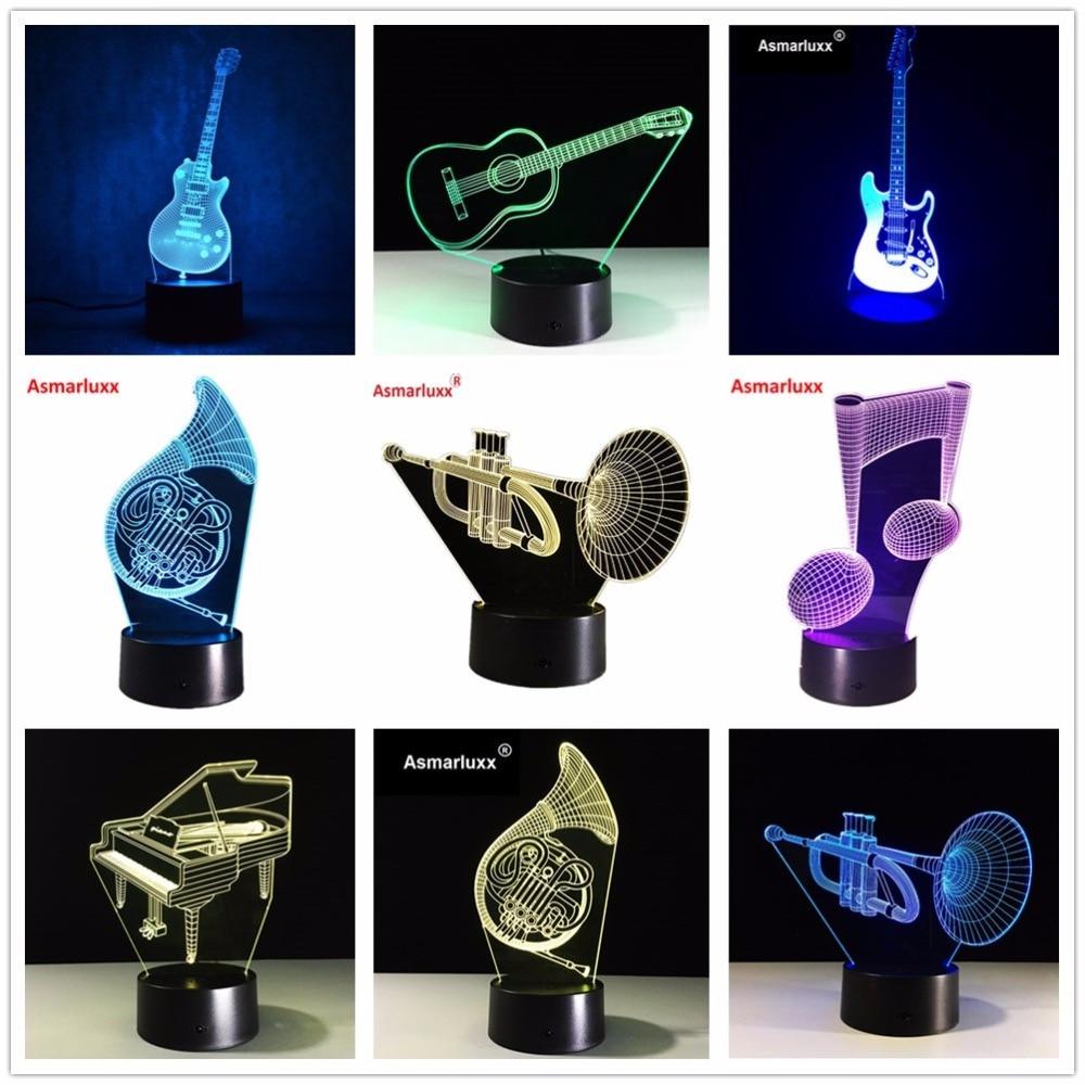 3D E Gitarre Musicnote Saxphone Klavier Orgel Lampe 7 Bunte USB Tisch Baby Schlafen Nachtlicht