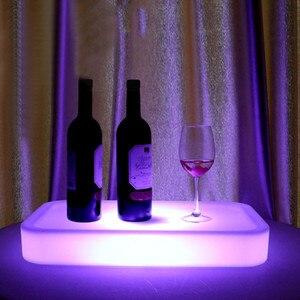 Image 4 - 16 Farbe Veränderbare Quadrat LED leuchtet Serviertablett USB Wiederaufladbare fruchtgetränke KTV Bars trays licht Mit fernbedienung
