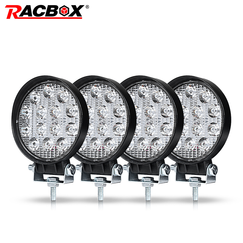 RACBOX 4 Inch 42W Car LED Work Light Lamp Offroad Boat Car Motorcycle SUV Driving Lighting Round Floodlight Spotlight 12V 24VRACBOX 4 Inch 42W Car LED Work Light Lamp Offroad Boat Car Motorcycle SUV Driving Lighting Round Floodlight Spotlight 12V 24V