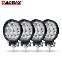 RACBOX 4 дюймов 42 Вт автомобиля светодиодный свет лампы Offroad Лодка Автомобиль Мотоцикл внедорожник вождения освещение круглый прожектор Spotlight 12 в 24
