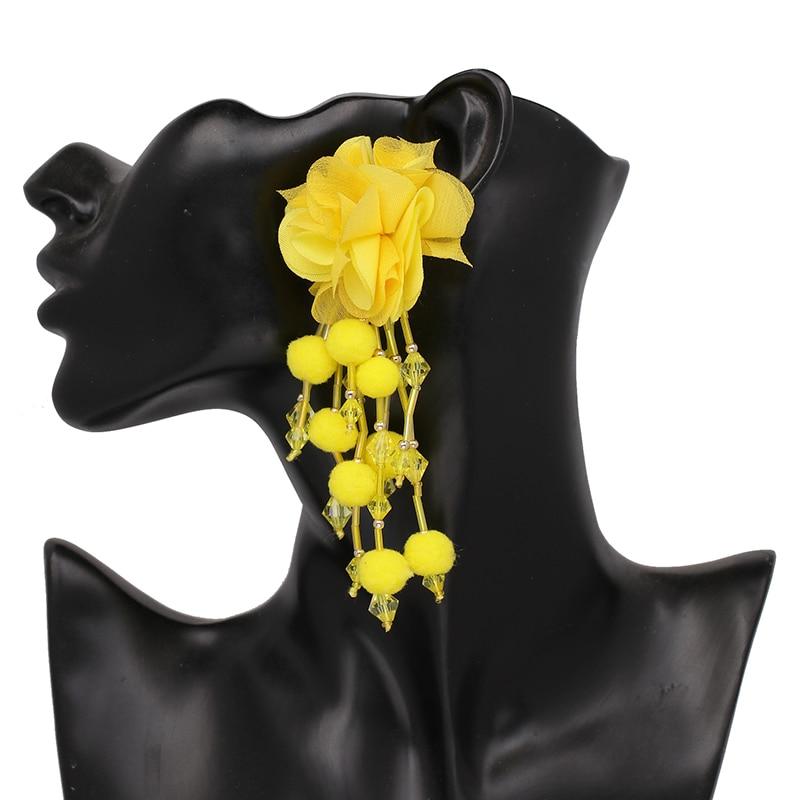 JUJIA Bohemian Long Flower Earrings Pom Pom Big Statement Earrings Fringe Drop Earrings Women Jewelry 6