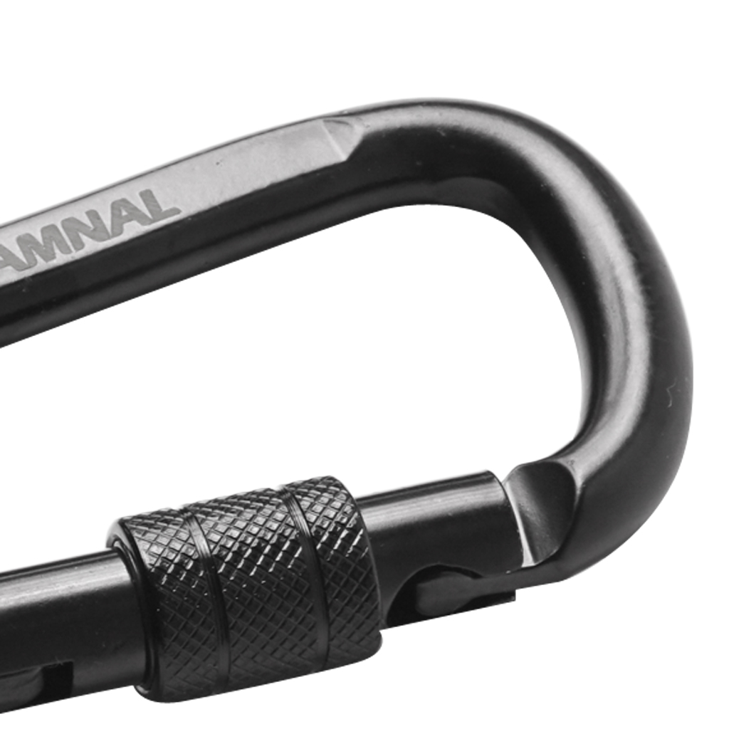 30KN D-Shape Carbon Steel Screw Lock Safety Outdoor Climbing Hiking Exploring Rappelling Rescue Carabiner Gear
