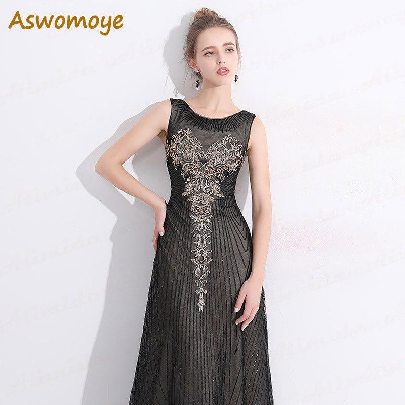 Aswomoye Elegant A Line Evening Dress Long 2018 Sequins Prom Dresses ...