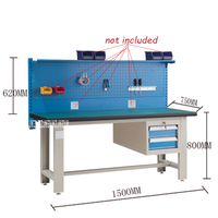 QG GZT003 Heavy Workshop Maintenance Workbench Antistatic Stainless Steel Test Operating Platform With 620mm Hanging Board