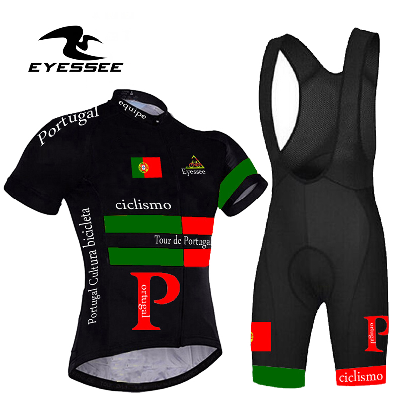 Profession Tour Of Portugal Cycling Jersey Set Summer Eyessee Team High-grade Breathable Riding Short Sleeve Bicycle Clothing