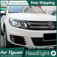 AKD Car Styling para VW Tiguan Faros 2013 Nuevo Tiguan LED faros Bi Xenón Faros Lente de Alta luz de Cruce LED DRL Aparcamiento