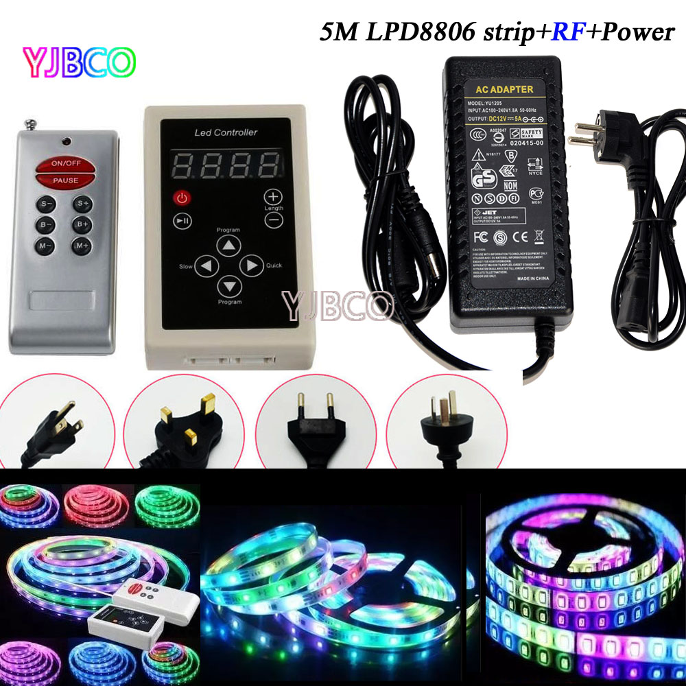 5M LPD6803 150leds IP30/IP65/IP67 LED 5050 RGB Dream color Car Ligh Strip t+133 Change RF Controller +12V 5A power ...