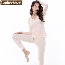 Women's Thermal Underwear Sets Low-Cut V-Neck Elastic Bodysuit Modal Blending Cotton Female Thin Warm Long Johns In Winter256336