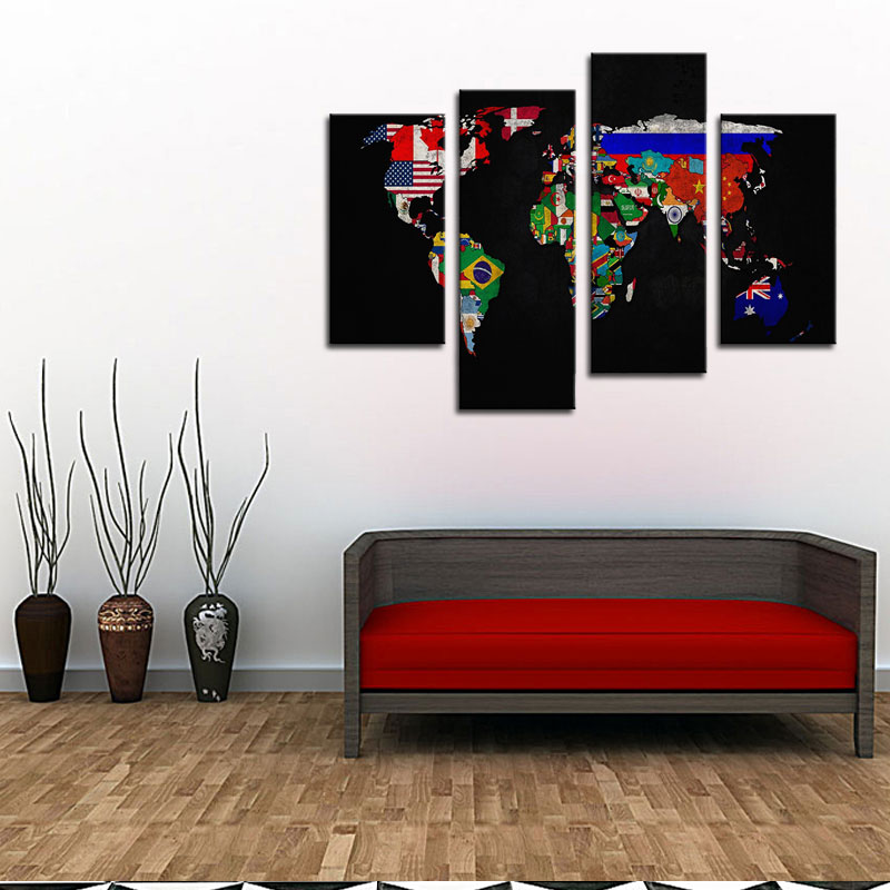4 panles abstract world map canvas painting map paintings wall art 4 panles abstract world map canvas painting map paintings wall art flag in its countrys outline paintings for home decoration in painting calligraphy gumiabroncs Image collections