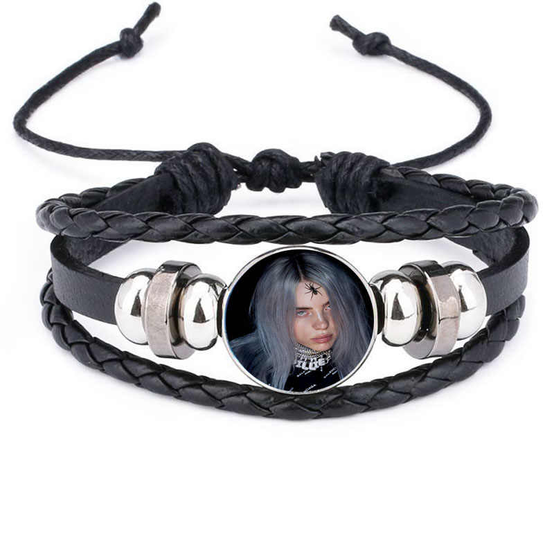 2019 Hip Hop Singer Billie Eillish Bracelet Bangle Jewelry Harajuku Art  Poster Glass Cabochon Charm Bracelet Bangle Fans Gift