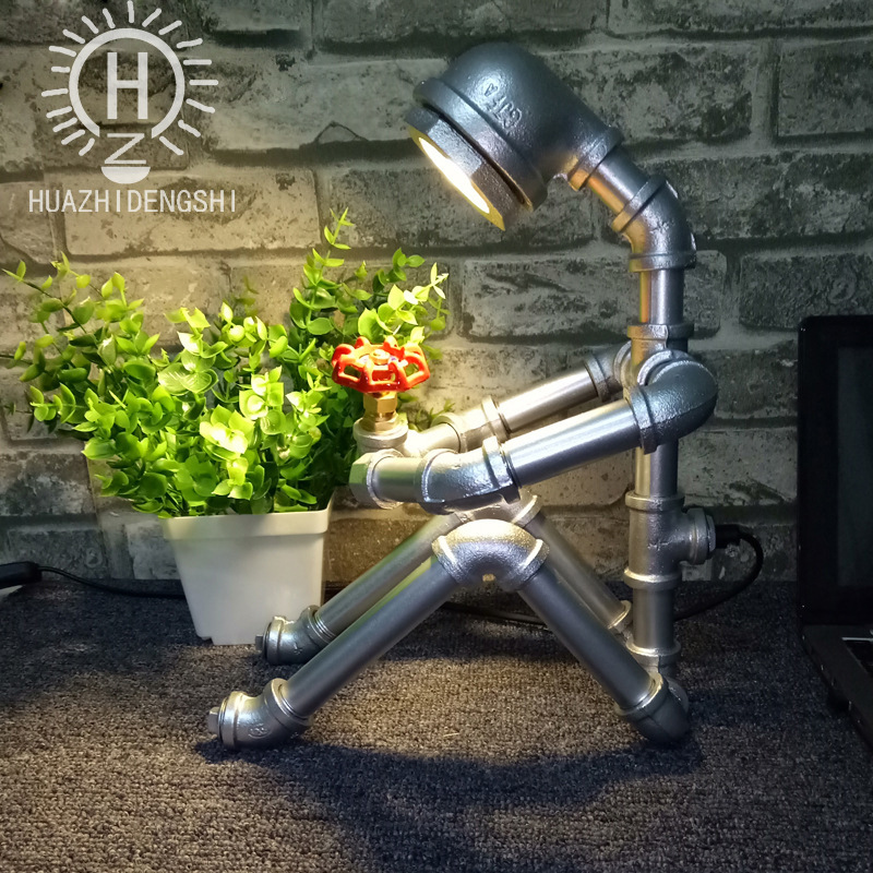 American retro industrial individuality study bar robot personality iron art water lamp