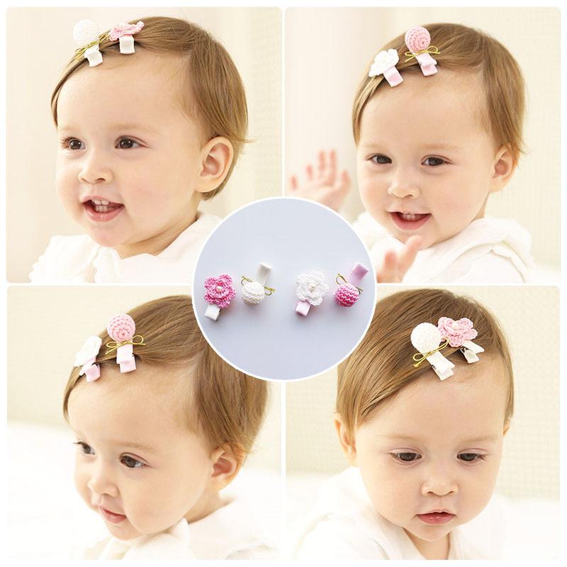 nias bebs flor de pinzas para el cabello tejido y bola horquilla adornos para el cabello accesorios de los nios del beb head