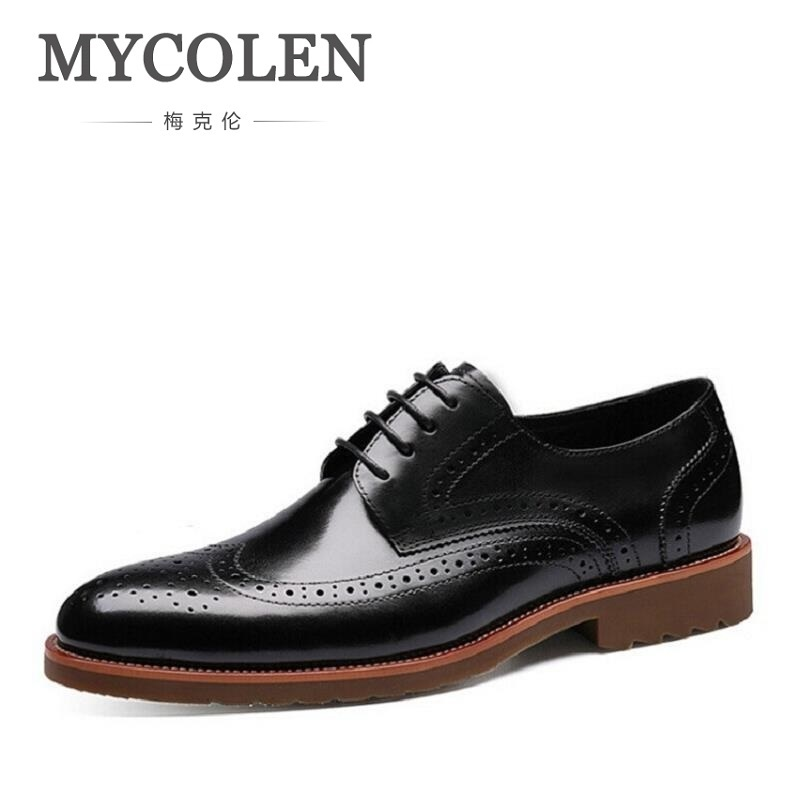 MYCOLEN New Luxury Leather Brogue Mens Flats Shoes Casual British Fashion Men Oxfords Brand Retro Dress Shoes For Men qffaz new 2018 luxury leather brogue mens flats shoes casual british style men oxfords fashion brand dress shoes for men lace up