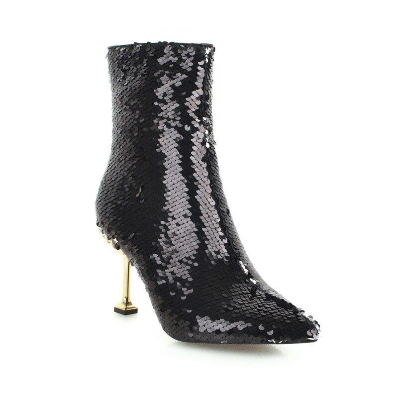 De Bottines Bout Femmes Chaussures Bling Haute Chic A12 Pointu Talon Aiguille Sexy Paillettes EWH2YD9I