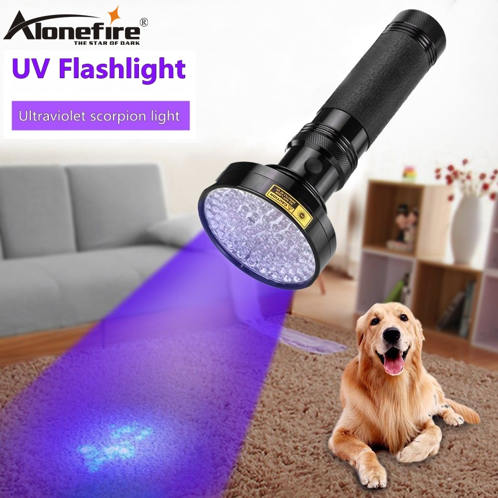 ALONEFIRE 100 LED High Power UV Light 395nm Flashlight Ultraviolet Scorpion Cat Dog Pet Urine Money Detection Torch Lamp AA Cell