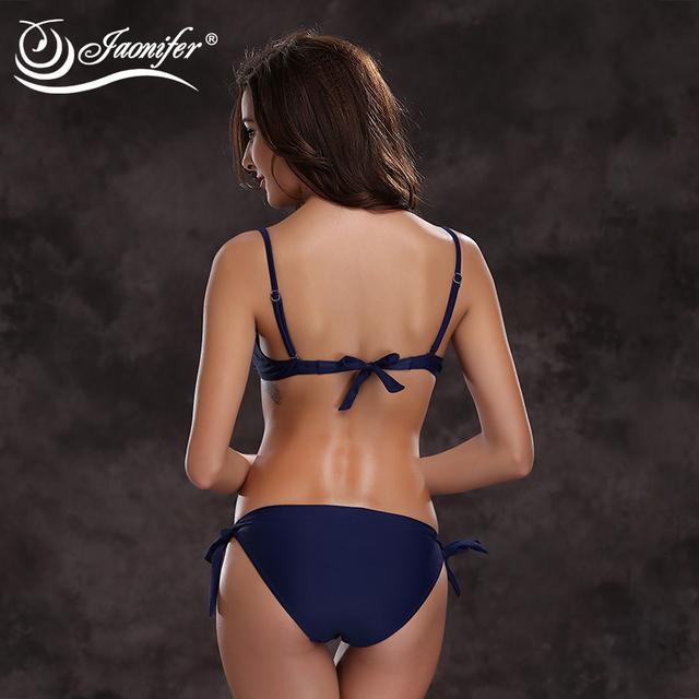 JAONIFER  Women Twisted Bikini 2017 Sets Swimwear Women Push Up Swimwear Halter Swimsuit Striped Bathing Suit Summer Beachwear