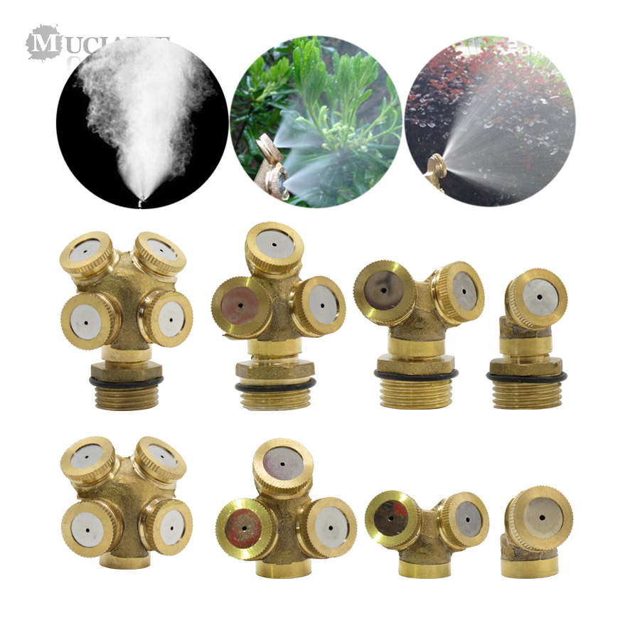 MUCIAKIE 1PC 1/2 Inch (20mm) Male 14mm Female Misting Sprinkler Garden Watering Irrigation Spray Nozzle Brass Mist Sprayer