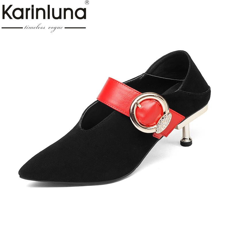 KarinLuna 2018 Spring New Arrival Brand Kid Suede Women Mules Fashion Crystal Metal Decoraion Pumps 5.5 Cm Heel Women Ol Shoes 2017 new fashion brand spring shoes large size crystal pointed toe kid suede thick heel women pumps party sweet office lady shoe