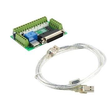 1 pièces nouvelle Interface MACH3 5 axes CNC panneau de rupture pour moteur pas à pas pilote CNC moulin pour vente chaude interface carte + câble USB