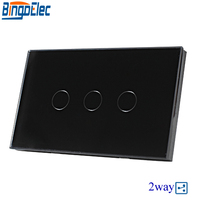 Hot Sale Good Quality AU US Standard Bingoelec Black Glass Panel 3gang 2way Touch Switch Wall