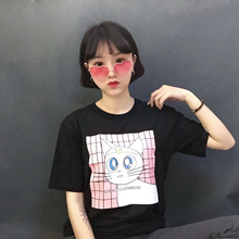 Kawaii Cartoon Cat Printed Female T-shirt