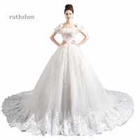 ruthshen Luxury A Line Wedding Dresses 2018 Boat Neck Beaded Appliques Flowers Vintage Bridal Gowns With Lace Up Back 2018