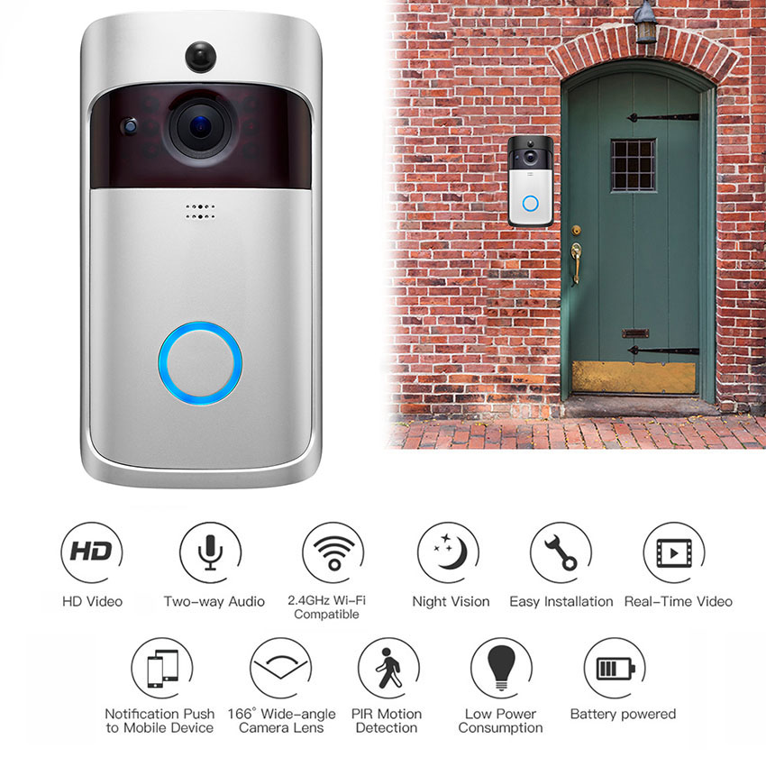 Real-Time Notification Two-Way Talk UK Night Vision Wide Angle with Battery WiFi Doorbell Camera Wireless with Smart PIR Motion Detector Video Doorbell Camera