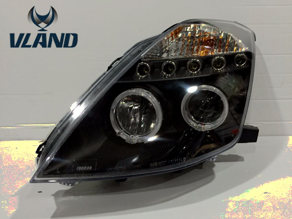 Free shipping 2003-2005 Nissans 350 Z auto headlight LED headlamp With angel eyes <font><b>Best</b></font> quality H7 or D2H xenon lamp