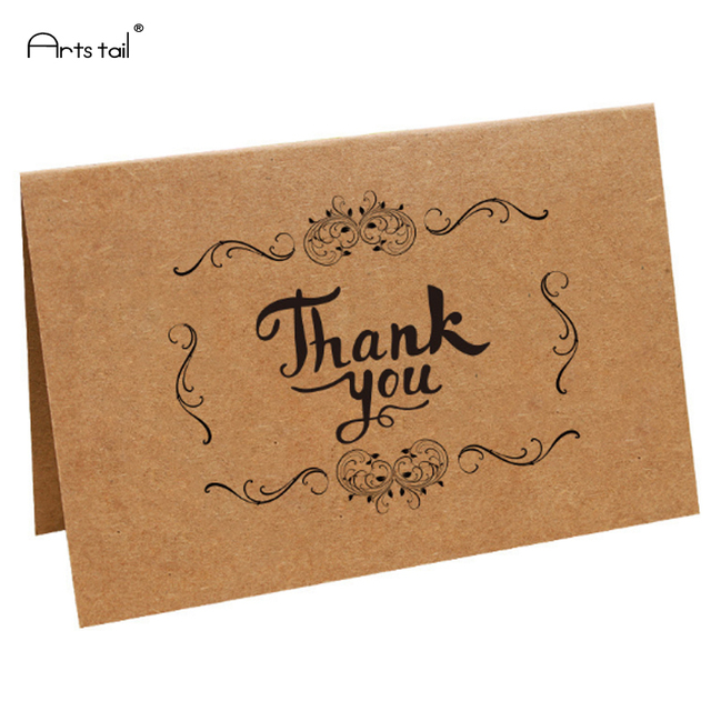 50 Sheets Kraft Paper Thank You Card Christmas Gift Festival Office