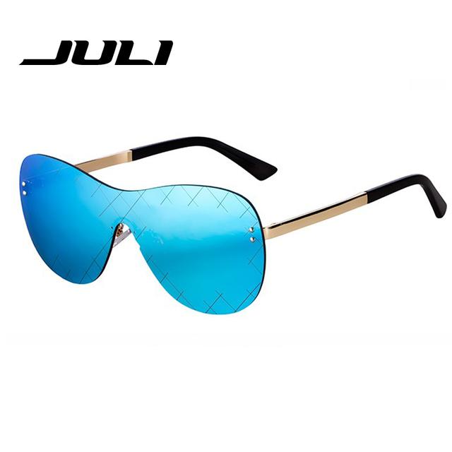 Punk Estilo Sin Rebordes Aerolínea Diseño gafas de Sol de Mujer de Marca Gafas de Sol Retro Para Hombres de Gran Tamaño Forma de Escudo Gafas Oculos JL999C