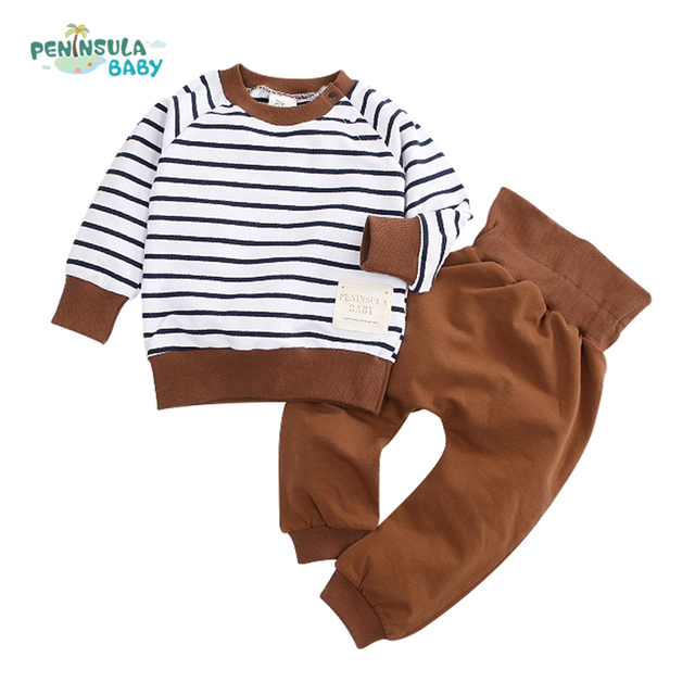 New Spring 2017 Baby Clothing Set Long Sleeve Striped Top+Pant Baby Boys Girls Kids Clothes Infant Newborn Children Suit