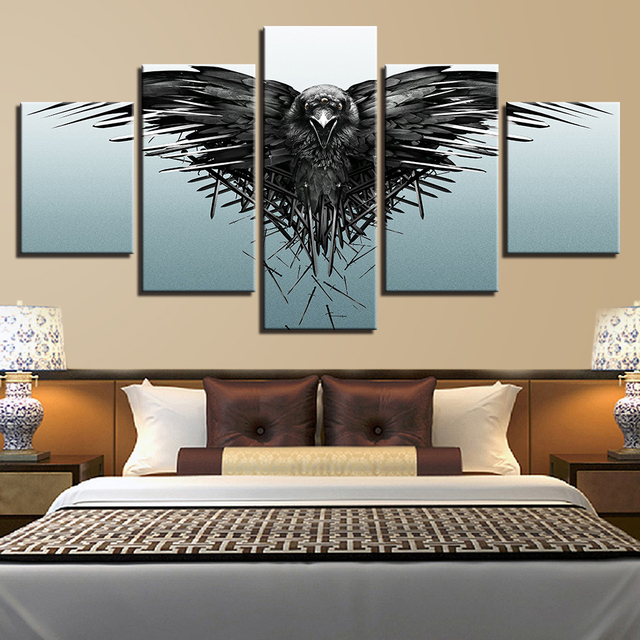 5 Panels Game of Thrones Three Eyed Raven Canvas Painting Prints