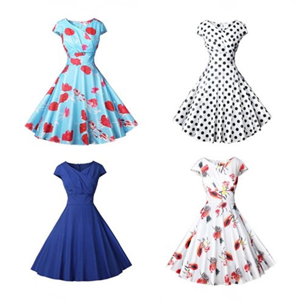 The New S-2XL Floral Print High Waist Vintage Dress Women 2019 Summer vestidos female Robe Female Retro Vintage Dresses